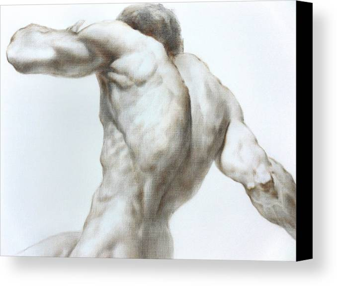 Man Canvas Print featuring the painting Nude1c by Valeriy Mavlo