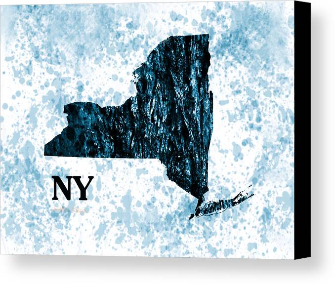 New York State Map Canvas Print featuring the painting Ny State Map by Enki Art