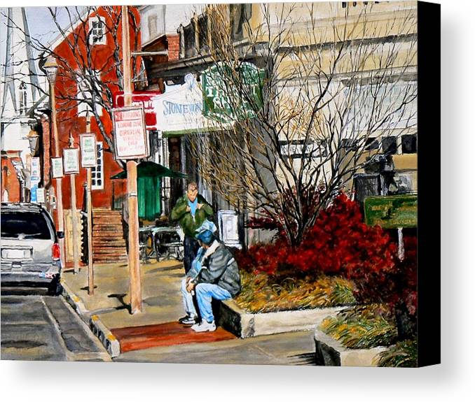 City Scene Canvas Print featuring the painting Oil Stains And Red Nandina by Thomas Akers