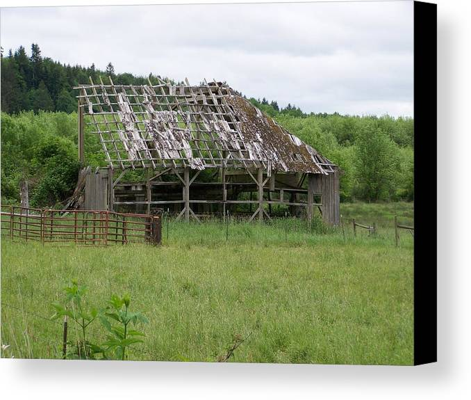 Barn Canvas Print featuring the photograph Old Barn Bones Washington State by Laurie Kidd