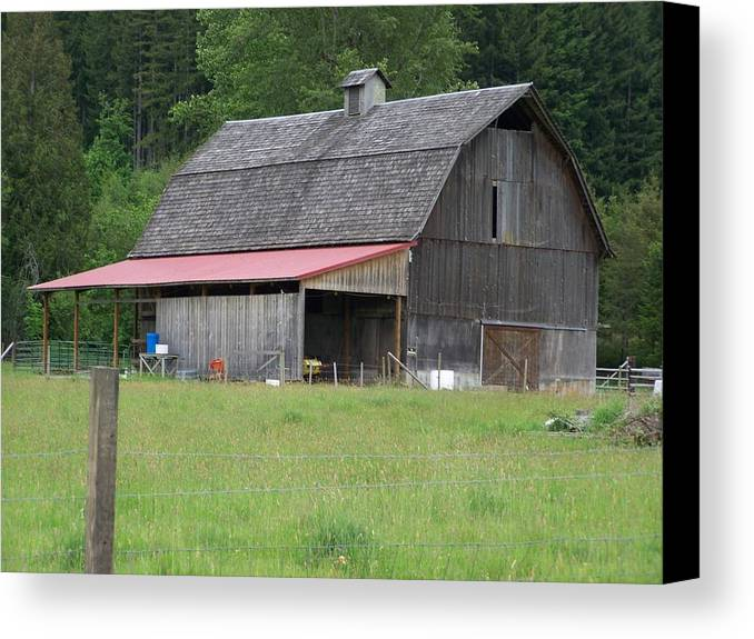 Barn Canvas Print featuring the photograph Old Barn With Red Leanto Washington State by Laurie Kidd