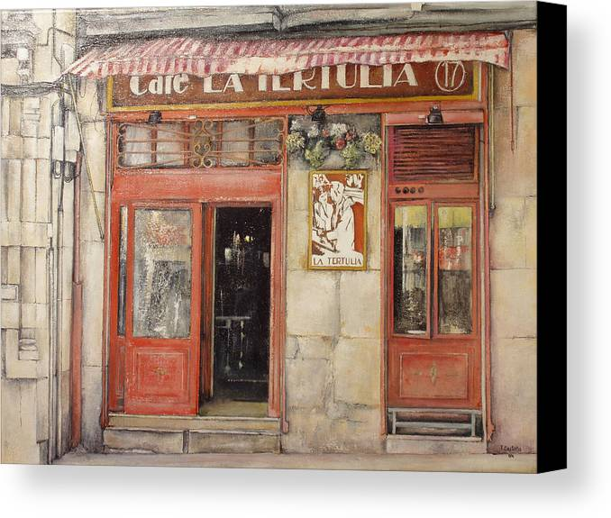 Cafe Canvas Print featuring the painting Old Cafe- Santander Spain by Tomas Castano