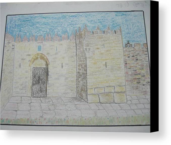 Landscape Canvas Print featuring the drawing Old City.jerusalem.color Pencils 1992 by Dr Loifer Vladimir