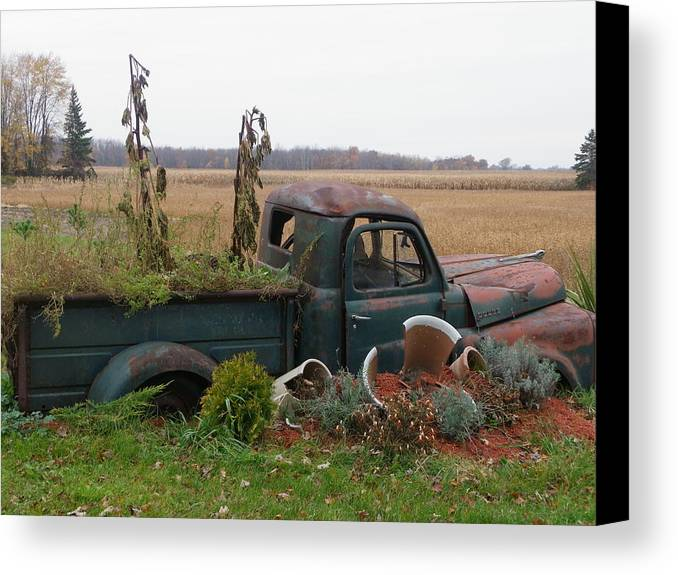 Landscape Canvas Print featuring the photograph Old Dodge New Job by Peggy King