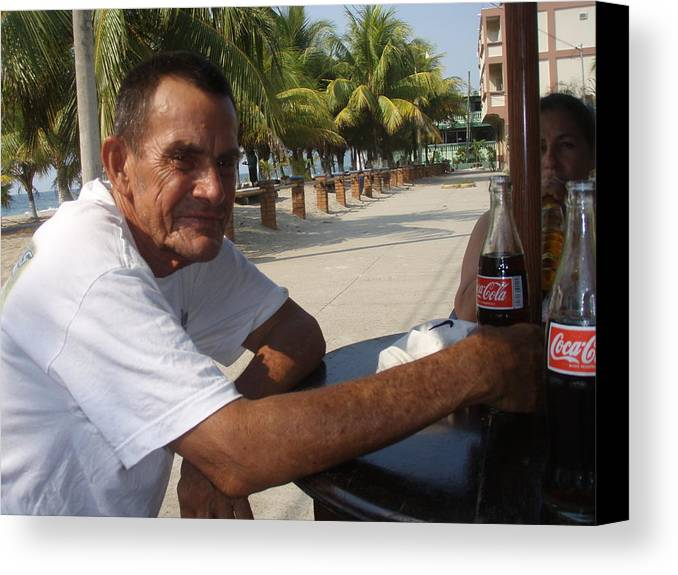 Portrait Canvas Print featuring the photograph Old Man Drinking Coca Cola by Samanta Munguia