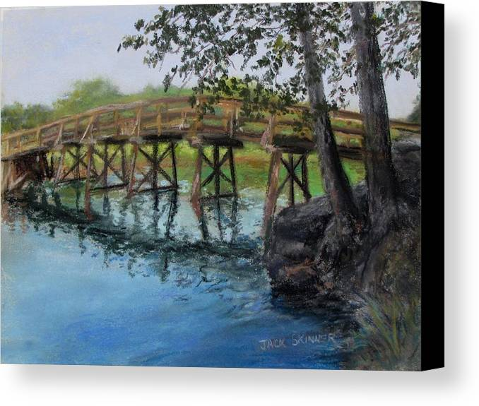 Pastel Canvas Print featuring the painting Old North Bridge In Pastel by Jack Skinner