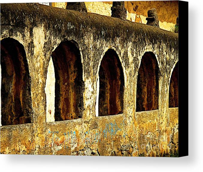 Patzcuaro Canvas Print featuring the photograph Old Patzcuaro Wall 3 by Mexicolors Art Photography