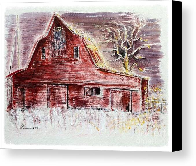 Old Red Barn Stands Loyal To The Royals Canvas Print