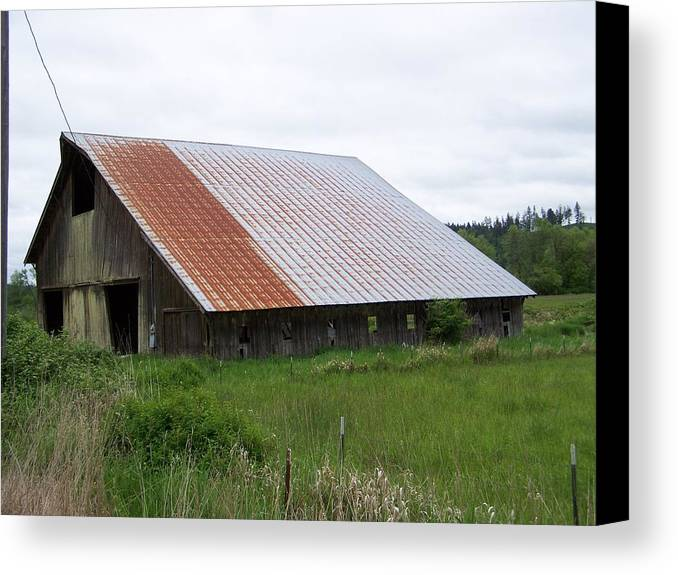 Barn Canvas Print featuring the photograph Old Tin Roof Barn Washington State by Laurie Kidd