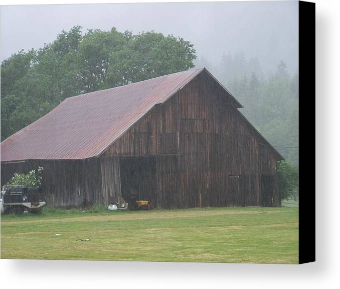 Barn Photography Canvas Print featuring the photograph Old Wood Barn In The Mist Washington State by Laurie Kidd