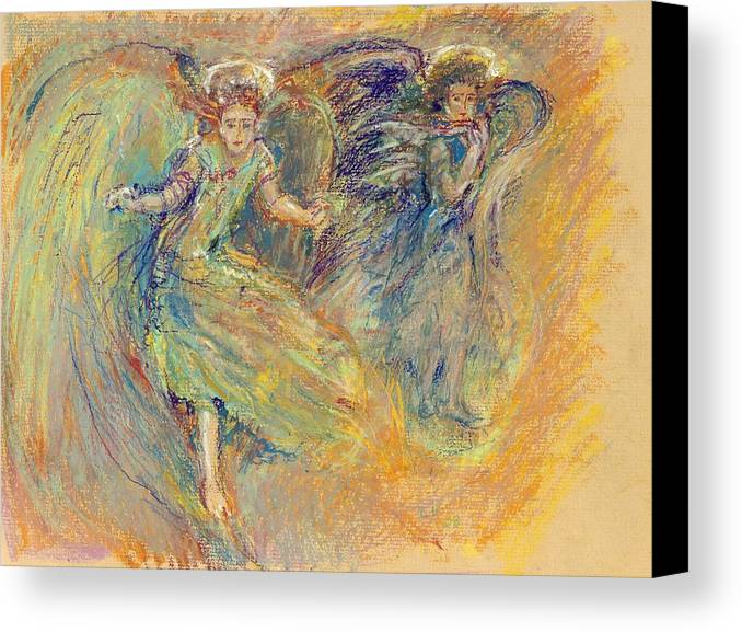 Angels; Angel Drawings; Symbolic Art; Inspirational Art; Christmas Angels; Hope; Spirituality; Canvas Print featuring the painting On High by Laurie Parker