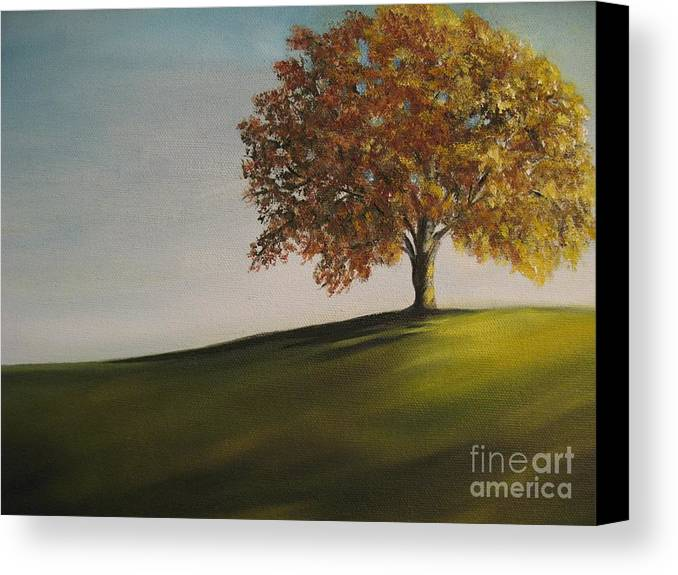 Tree Canvas Print featuring the painting On The Bike Trail by Carol Sweetwood