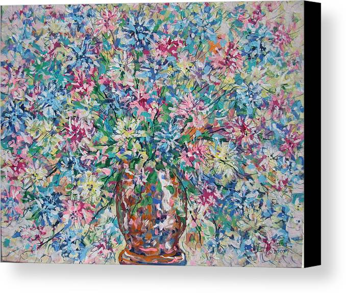 Painting Canvas Print featuring the painting Opulent Bouquet. by Leonard Holland
