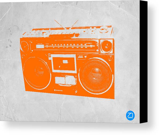 Canvas Print featuring the painting Orange Boombox by Naxart Studio