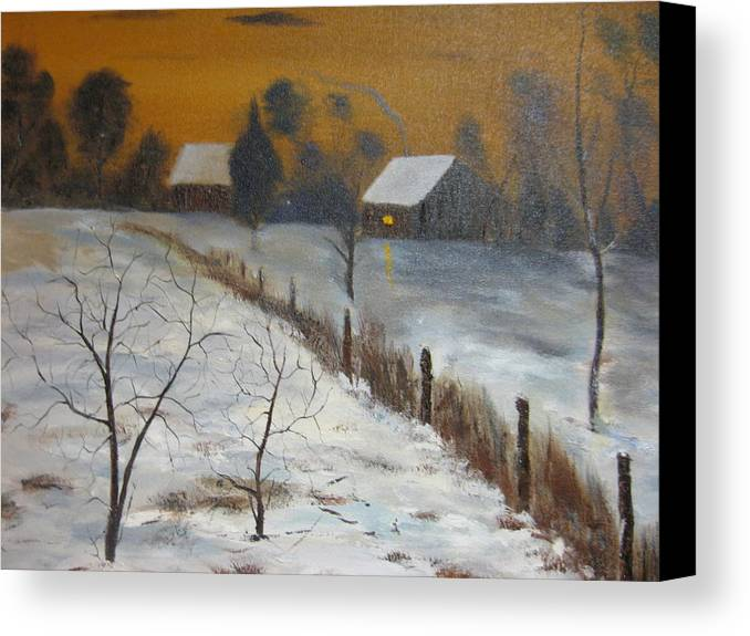 Landscape Canvas Print featuring the painting Orange Night by Brian Hustead