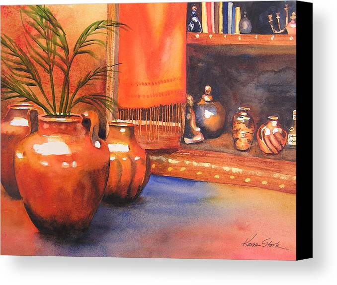 Pottery Canvas Print featuring the painting Orange Scarf by Karen Stark