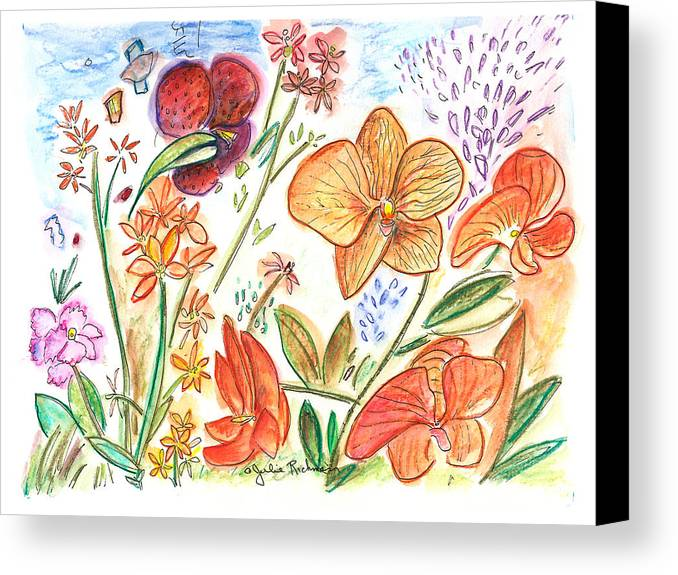 Flowers Canvas Print featuring the painting Orchid No. 9 by Julie Richman