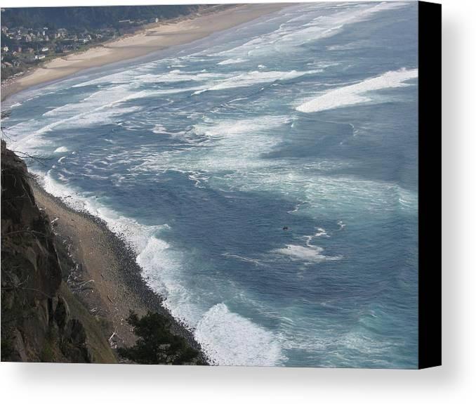 Canvas Print featuring the digital art Oregon Coastline by Barb Morton