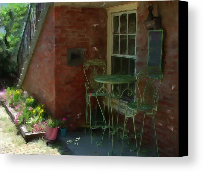 Rose Street Table Wine Chairs Romance Cafe Dinner Lovers Massachusetts Quaint Newburyport Canvas Print featuring the painting Other Ideas by Eddie Durrett