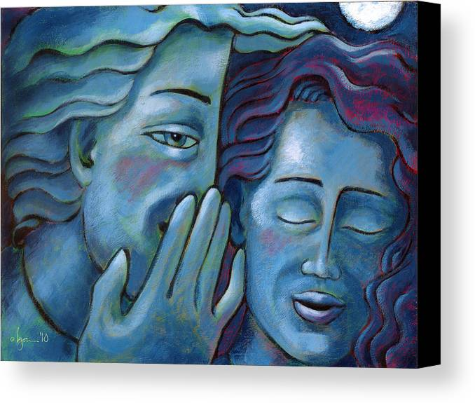 Secrets. Faces Canvas Print featuring the painting Our Secret Painting 49 by Angela Treat Lyon