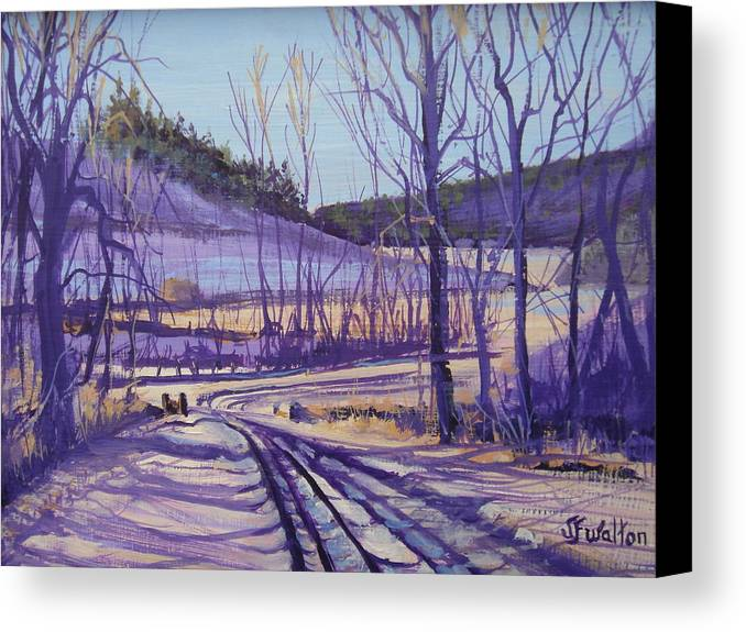 Winter Canvas Print featuring the painting Over The Bridge And Through The Woods by Judy Fischer Walton