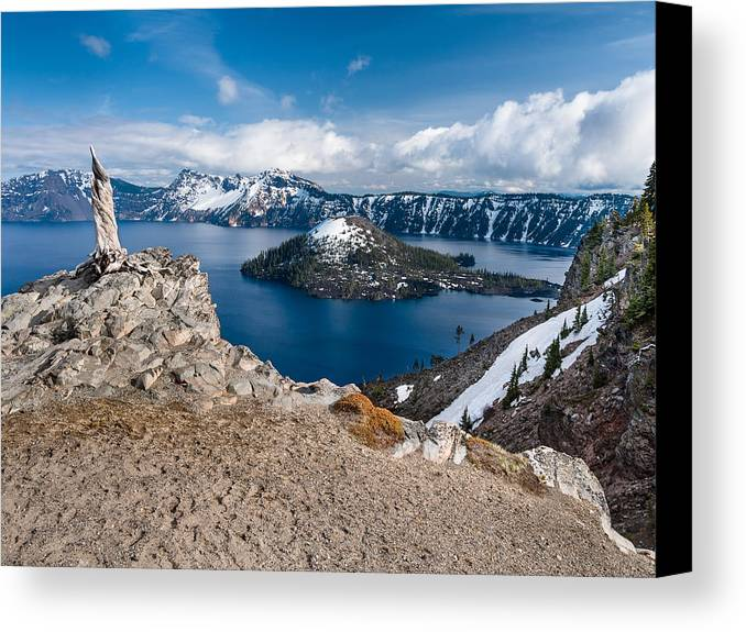 Crater Lake Canvas Print featuring the photograph Overlooking Wizard Island In Spring by Greg Nyquist