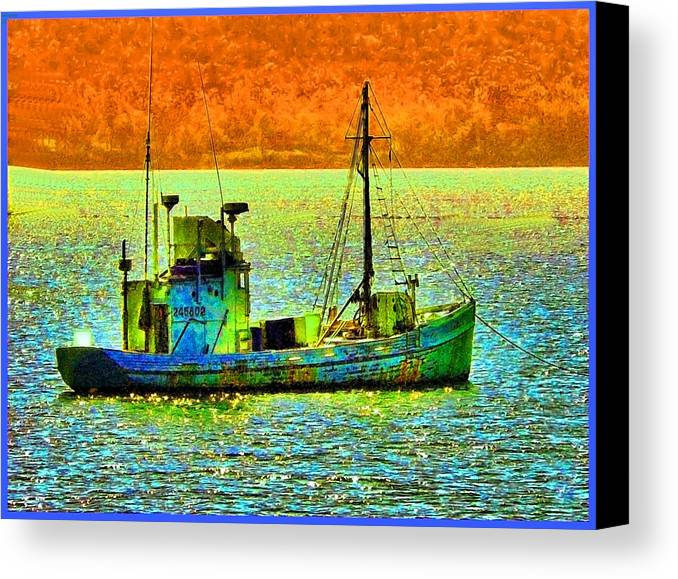 Fishing Boat Canvas Print featuring the photograph p1030865001d Fishing Boat by Ed Immar