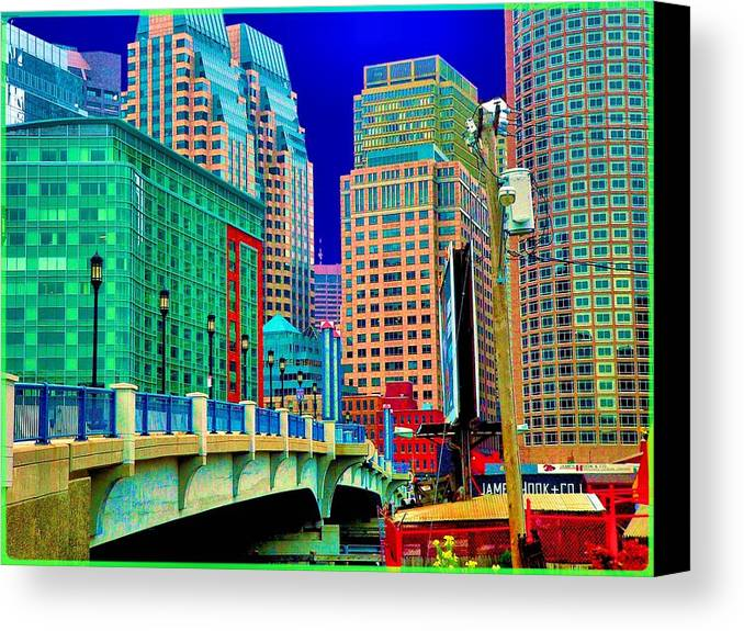 Cityscape Canvas Print featuring the photograph p1070571b Boston Bridge by Ed Immar