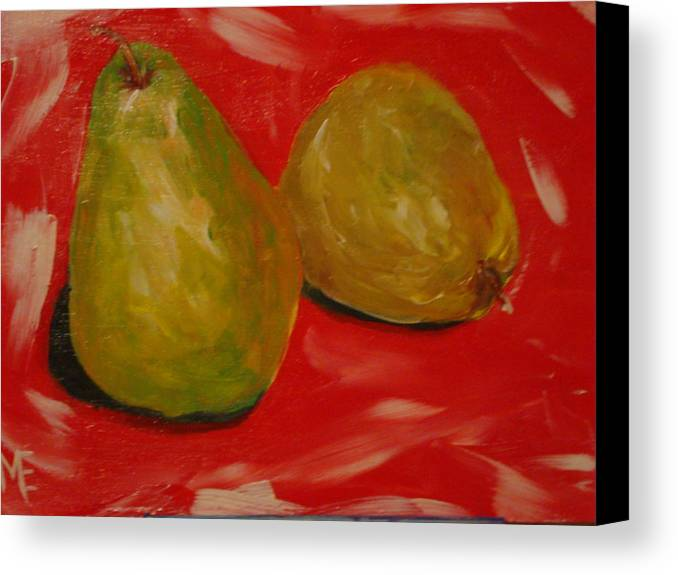 Pears Canvas Print featuring the painting Pair Of Pears by Melinda Etzold