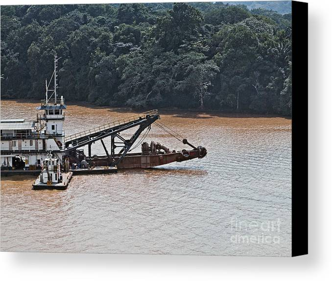 Barge Canvas Print featuring the photograph Panama052 by Howard Stapleton