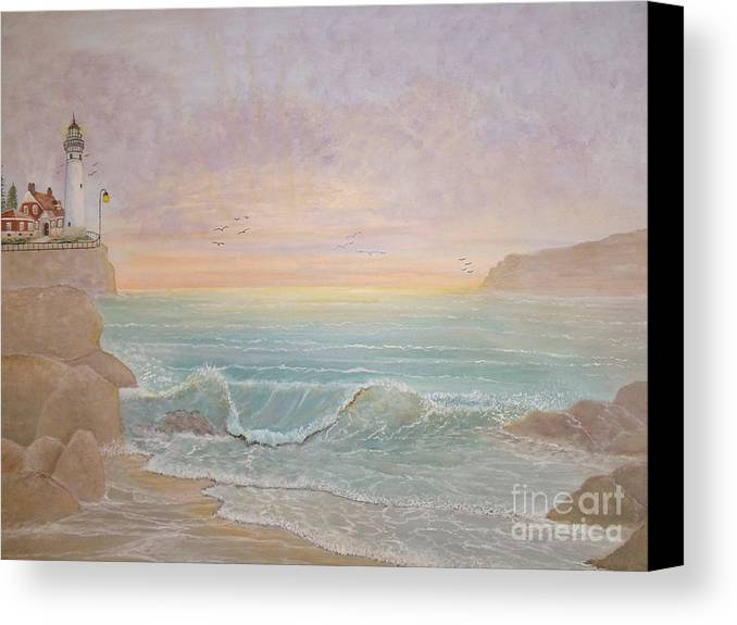 Lighthouse Canvas Print featuring the painting Paradise by Patti Lennox
