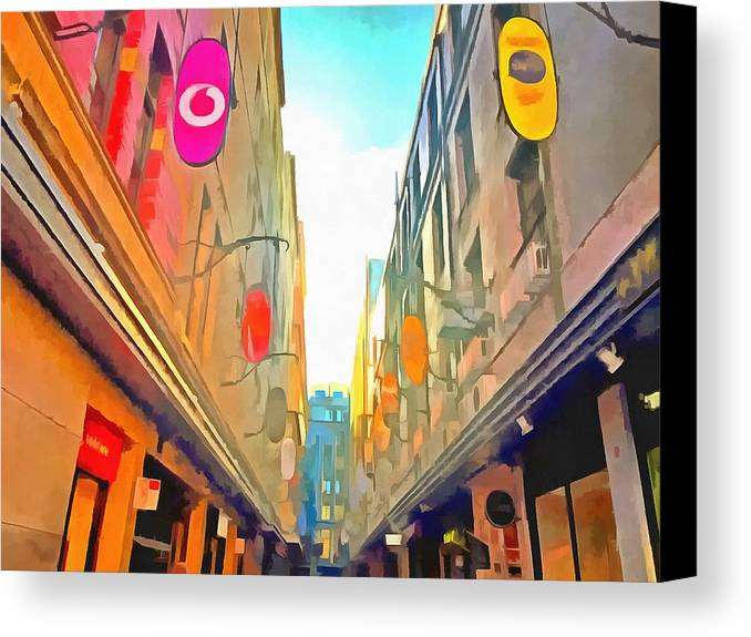 Art Canvas Print featuring the photograph Passage Between Colorful Buildings by Ashish Agarwal