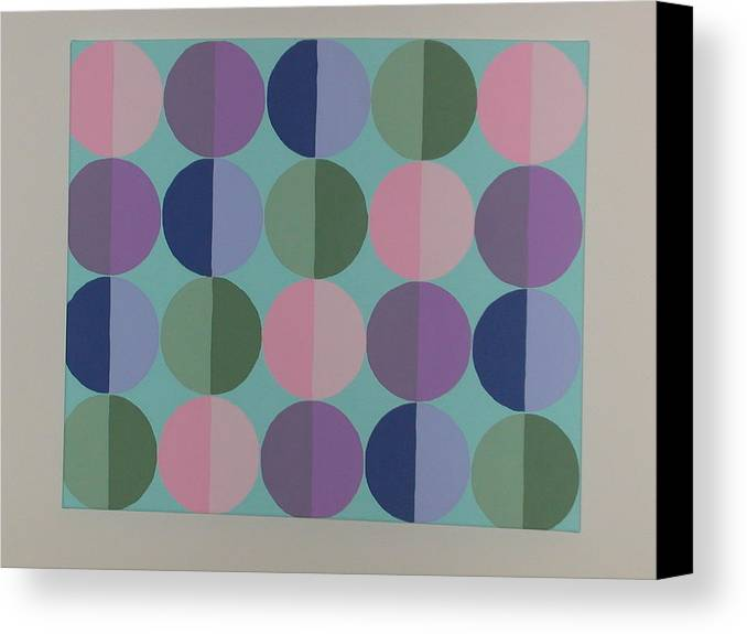 Blue Canvas Print featuring the painting Pastel Cirles by Gay Dallek