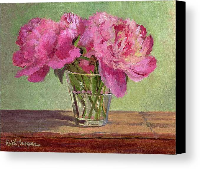 Still Canvas Print featuring the painting Peonies In Tumbler by Keith Burgess