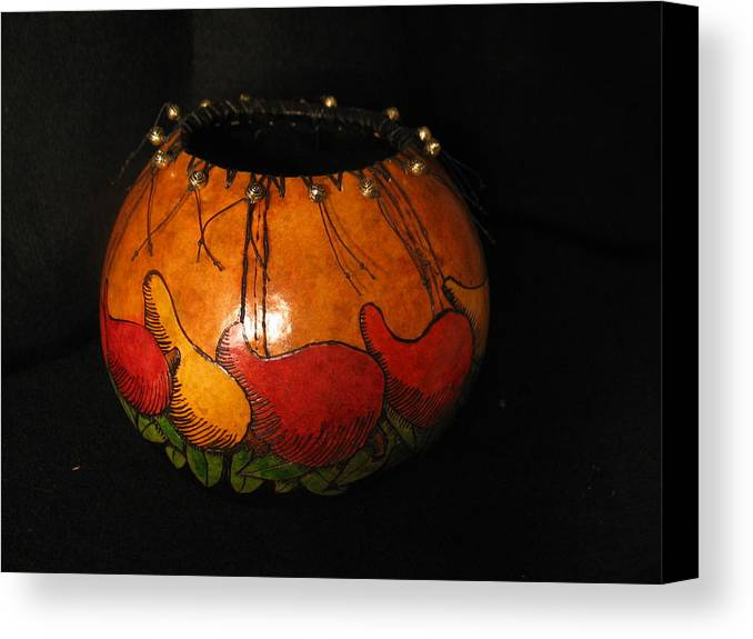Chili Pepper Canvas Print featuring the mixed media Pepper Gourd by Deborah Hildinger