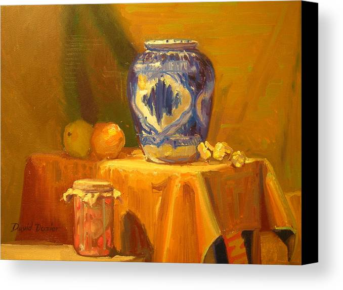 Still Life Canvas Print featuring the painting Persian Vase And Fruit Jar by David Dozier
