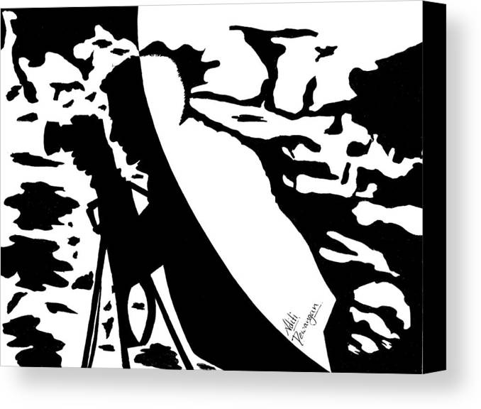 Photographer Canvas Print featuring the painting Photographer In Monochrome by Aditi Dewangan