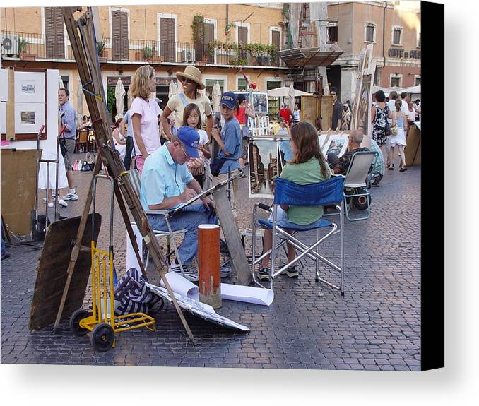 Piazza Navona Canvas Print featuring the photograph Piazza Navona by Angel Ortiz