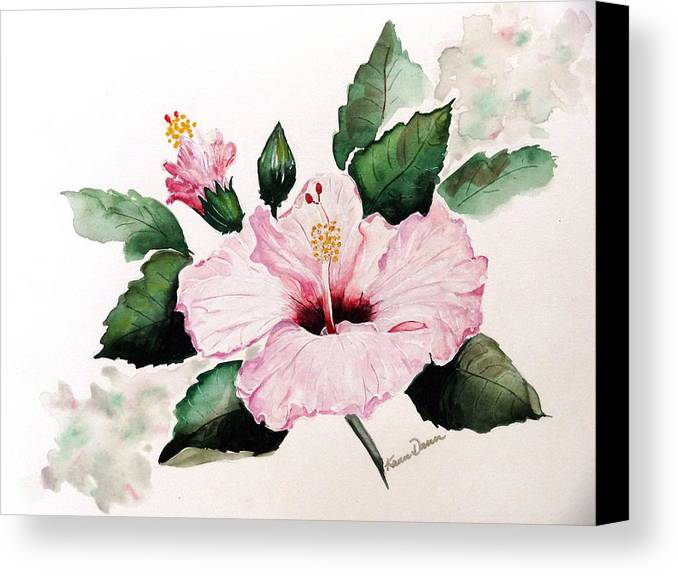 Hibiscus Painting  Floral Painting Flower Pink Hibiscus Tropical Bloom Caribbean Painting Canvas Print featuring the painting Pink Hibiscus by Karin Dawn Kelshall- Best