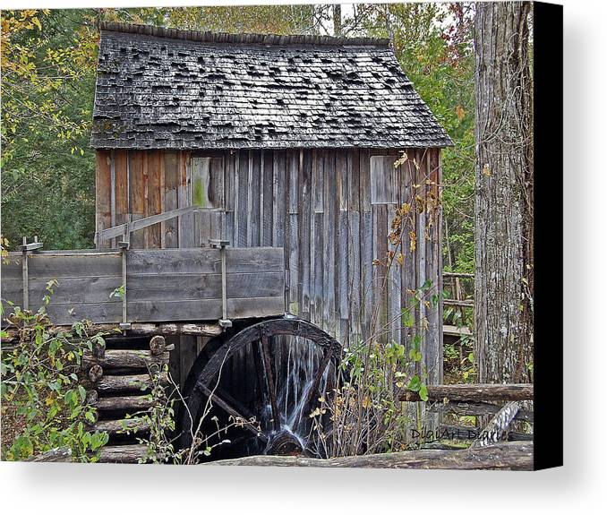 Pioneer Canvas Print featuring the digital art Pioneer Water Mill by DigiArt Diaries by Vicky B Fuller