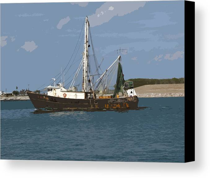 Boat Canvas Print featuring the painting Pirate One by Allan Hughes