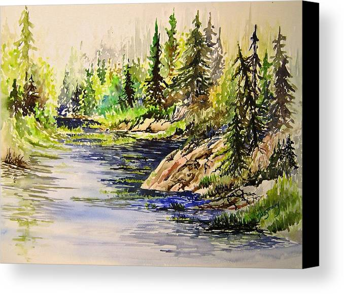 Nutimik Lake Manitoba Landscape Canvas Print featuring the painting Plein Air At Nutimik Lake In Manitoba by Joanne Smoley
