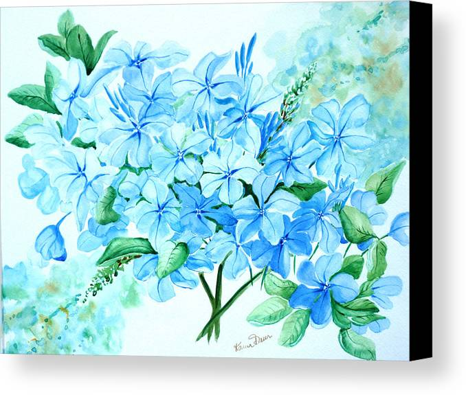 Floral Blue Painting Plumbago Painting Flower Painting Botanical Painting Bloom Blue Painting Canvas Print featuring the painting Plumbago by Karin Dawn Kelshall- Best