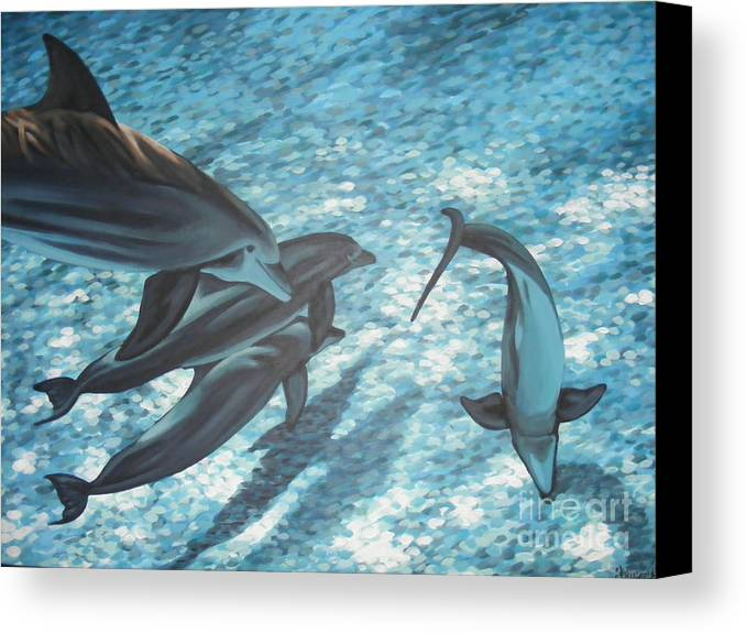 Canvas Print featuring the painting Pod Of Dolphins by Dan Remmel