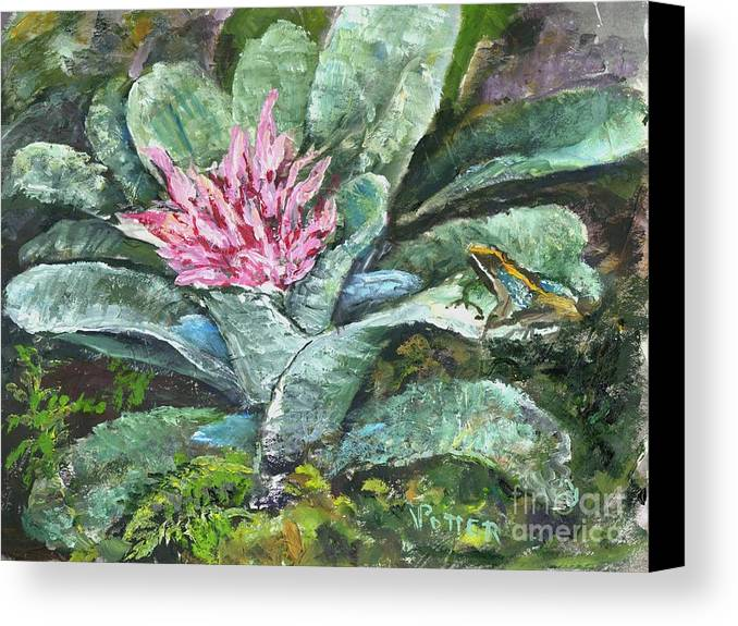 Frog Canvas Print featuring the painting Poison Dart Frog On Bromeliad by Virginia Potter