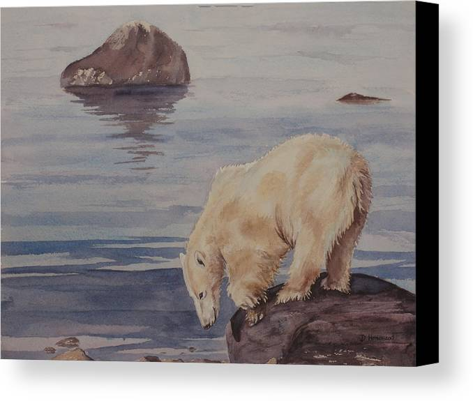 Polar Bear Canvas Print featuring the painting Polar Bear Fishing by Debbie Homewood