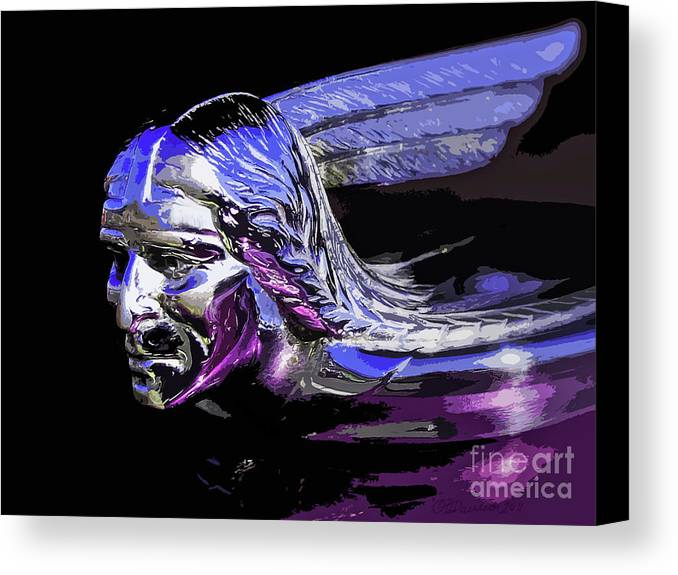 Pontiac Indian Head Canvas Print featuring the photograph Pontiac Indian Head Hood Ornament by Patricia L Davidson