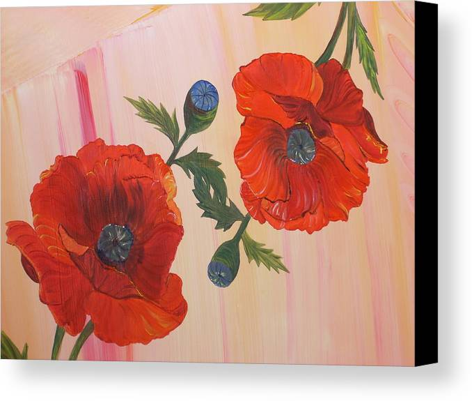Flowers Canvas Print featuring the painting Poppies In Love by Murielle Hebert