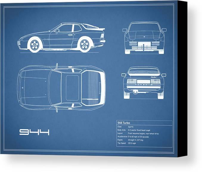 Porsche 944 blueprint canvas print canvas art by mark rogan porsche canvas print featuring the photograph porsche 944 blueprint by mark rogan malvernweather Image collections