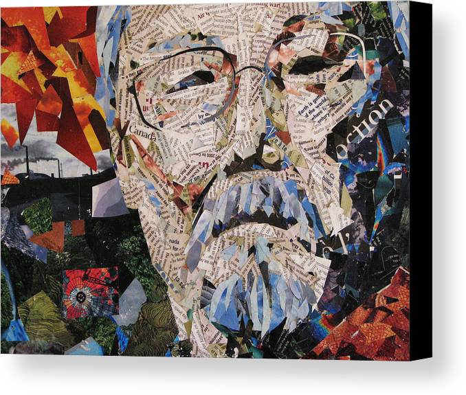 David Suzuki Canvas Print featuring the mixed media Portait Of David Suzuki by Alicia LaRue